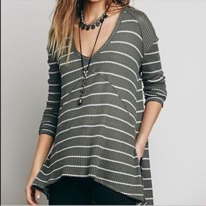 Free people sunset park striped thermal tunic Sz M